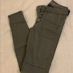 Sateen Army green Jegging